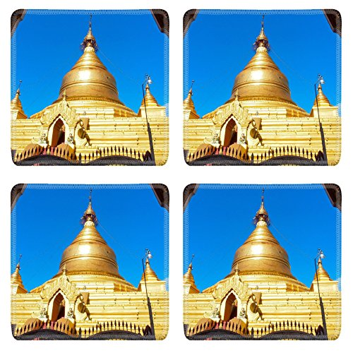 MSD Square Coasters Non-Slip Natural Rubber Desk Coasters design: 32885837 golden pagoda in Kuthodaw temple Mandalay Myanmar ()