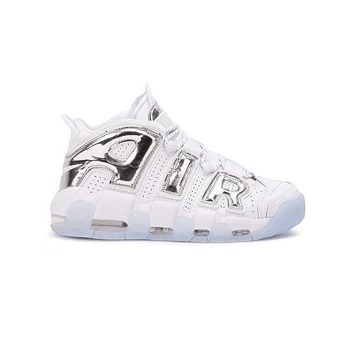 Nike Women's Air More Uptempo Shoe White/Chrome/Blue Tint Size: 7.5 UK