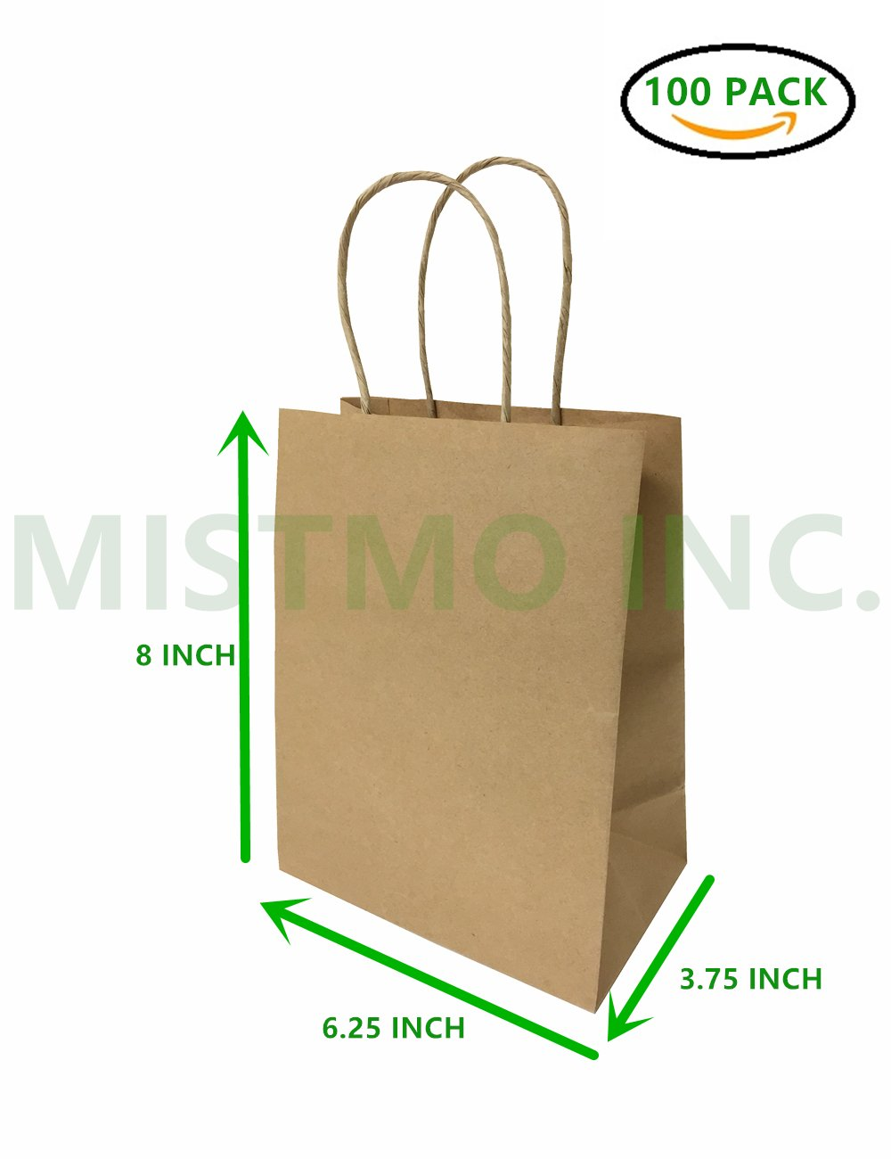 Mistmo 6.25''X3.75''X8'' Inch Kraft Paper Bags with Handles, Self-Standing Reusable Gift & Shopping Bags, Pack of 100PC, Brown Bags