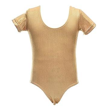 a33da0e9f8a39 eshoo Niños niña manga corta Danza Gimnasia Athletic Sport Camiseta  (Azul Oro rosa)