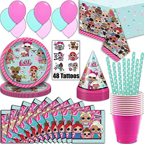 Clothes 9 Cups Ounce - LOL Suprise Party Supplies, Serves 16 - Plates, Napkins, Tablecloth, Cups, Straws, Balloons, Tattoos, Birthday Hats - Full Tableware, Decorations, Favors for L.O.L Collectors