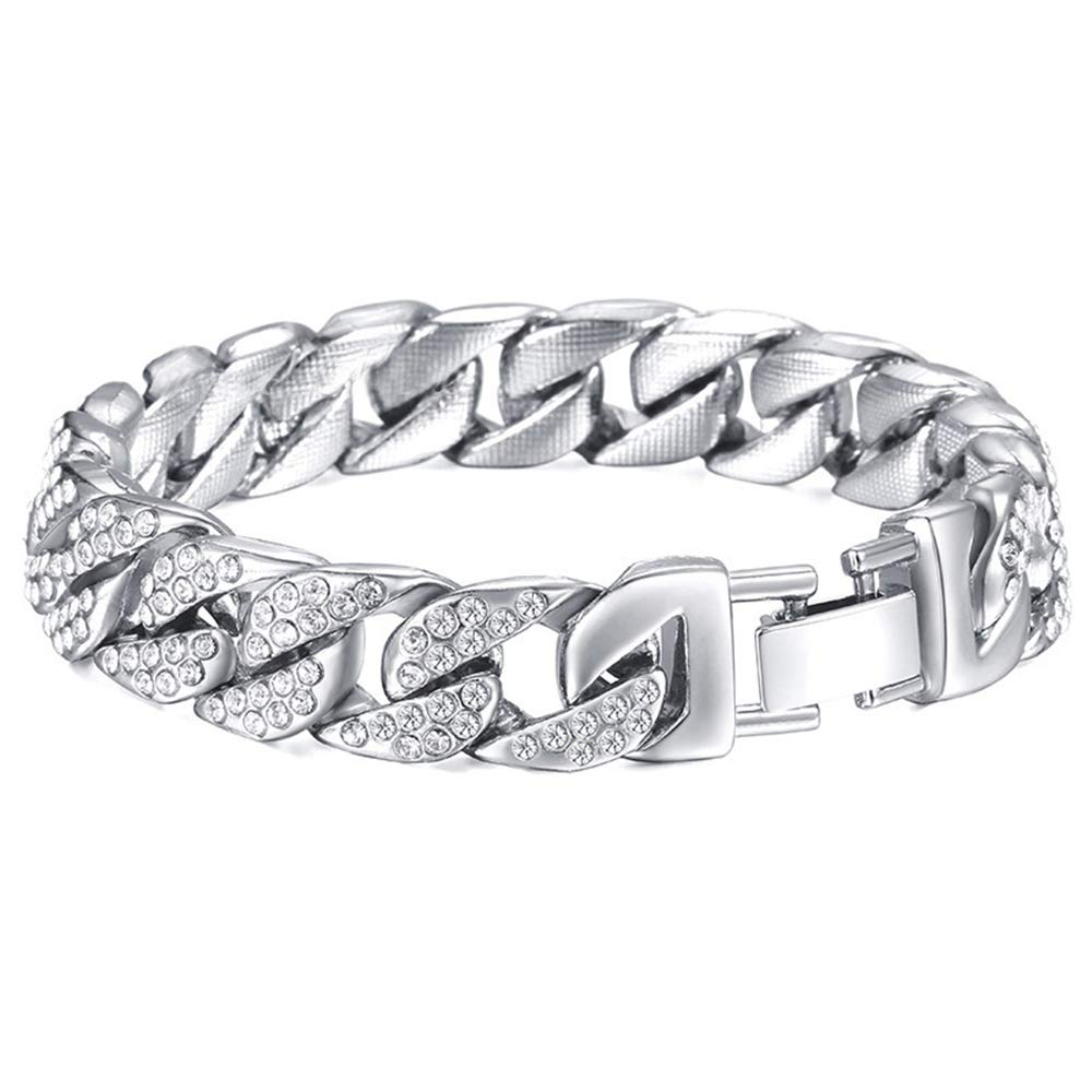 Silver Rando Mens Womens Cuban Link Bracelet Hip Hop Stainless Steel Miami Curb Chain Bracelet Wrist Cuffs Bangle Iced Out Rhinestones Rapper Punk Bracelet Jewelry