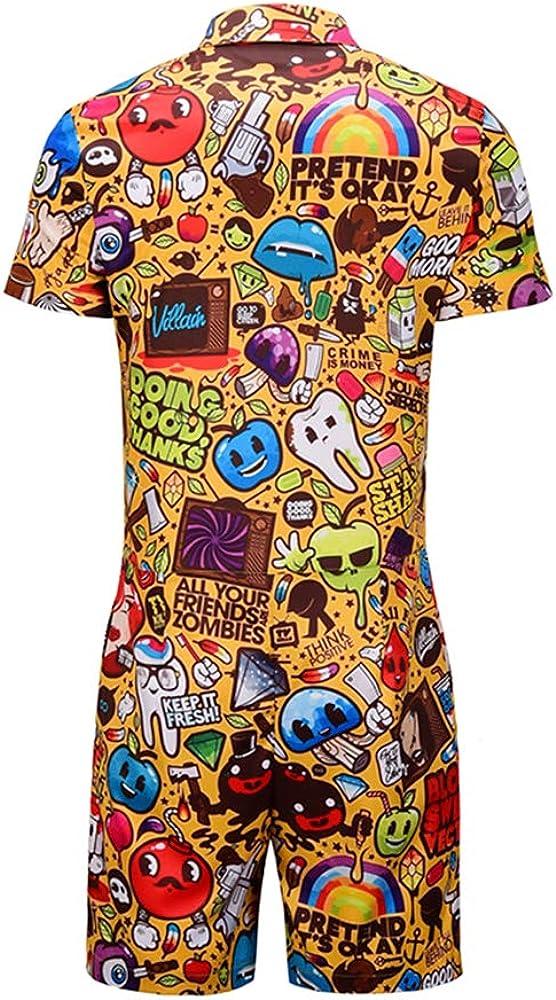 Sommer Gedruckt Grafik Overall Kurze Hose Kurzen /Ärmel Shirt arbeitskleidung Morbuy Herren 3D Jumpsuit