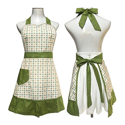 Vintage Aprons, Retro Aprons, Old Fashioned Aprons & Patterns Cute Lovely unique design Women Girls Ladies Retro Apron with Chic Pocket for Cooking Kitchen Green $14.99 AT vintagedancer.com