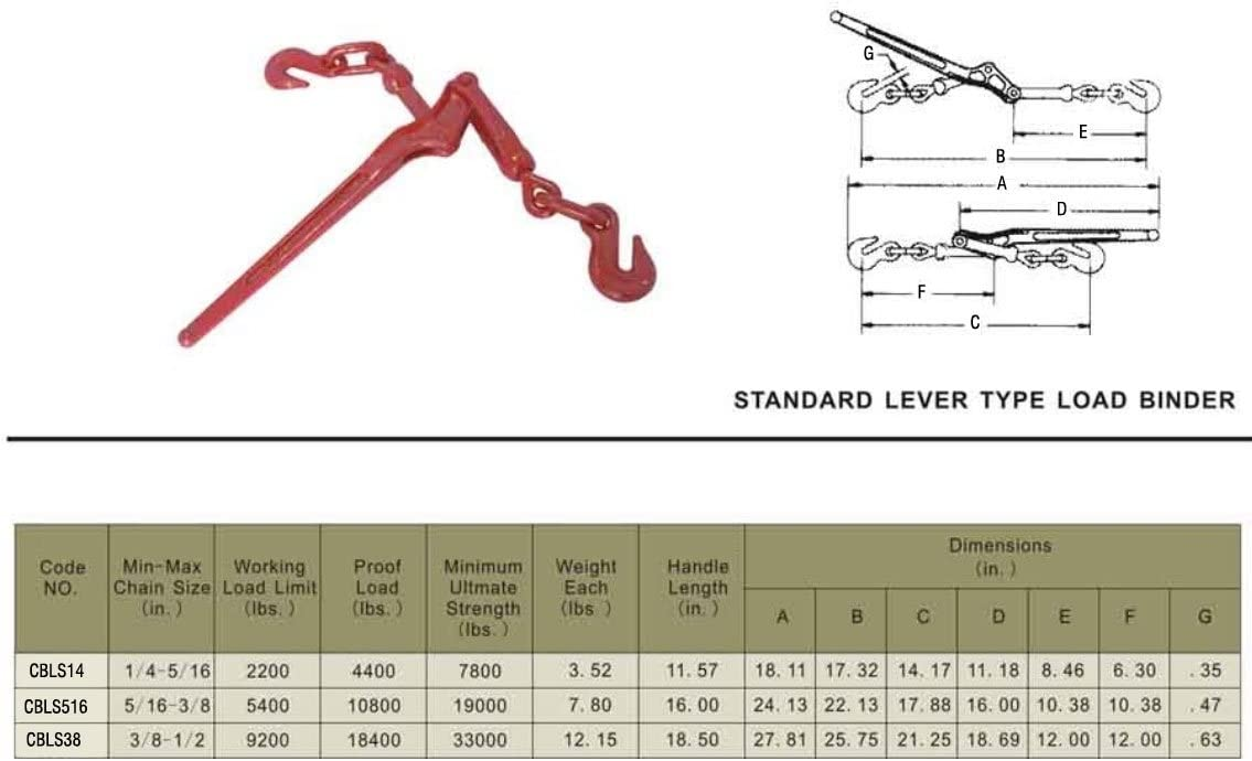 Mytee Products 5//16-3//8 Chain Binder Lever Style