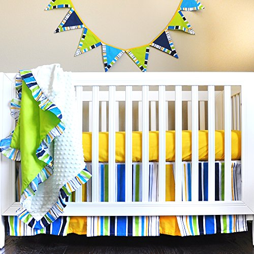 Pam Grace Creations Simply Four Piece Crib Bedding Set, Dark Blue - Guitar Baby Bedding
