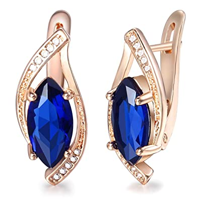 d2450a701 Trendsmax Blue Stone Leaf Shaped w Paved Cubic Zirconia CZ Stud Earrings  For Women 585 Rose Gold Filled Fashion Jewelry: Amazon.co.uk: Jewellery