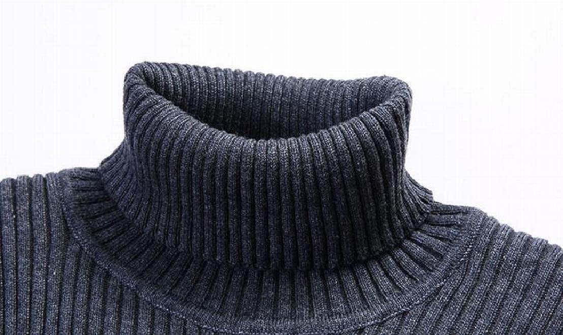 GenericMen Basic Ribbed Knit Turtleneck Long Sleeve Slim Fit Jumper Sweater