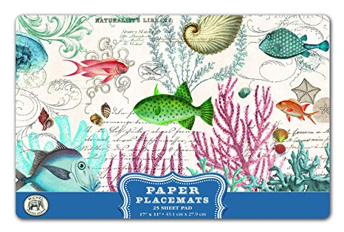 Springs Places Coral (Michel Design Works 25 Count Sea Life Paper Placemats, Multicolor)
