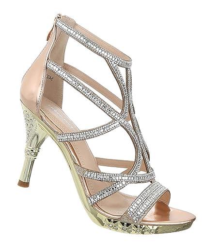 Großhändler 98602 92591 Damen Schuhe Sandaletten High Heels Abendschuhe Strass ...