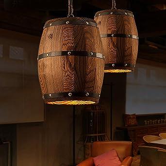 Modern Deckenlampe Holzfass Land Lichter Pendelleuchte Kreative Loft Lampe  E27 Lampe Kunst Dekoration Für Wohnzimmer Cafe