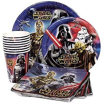 Star Wars Birthday Party Supplies Pack for 8 Guests - Lunch Plates, Dessert Plates, Lunch Napkins, Cups: Toys & Games