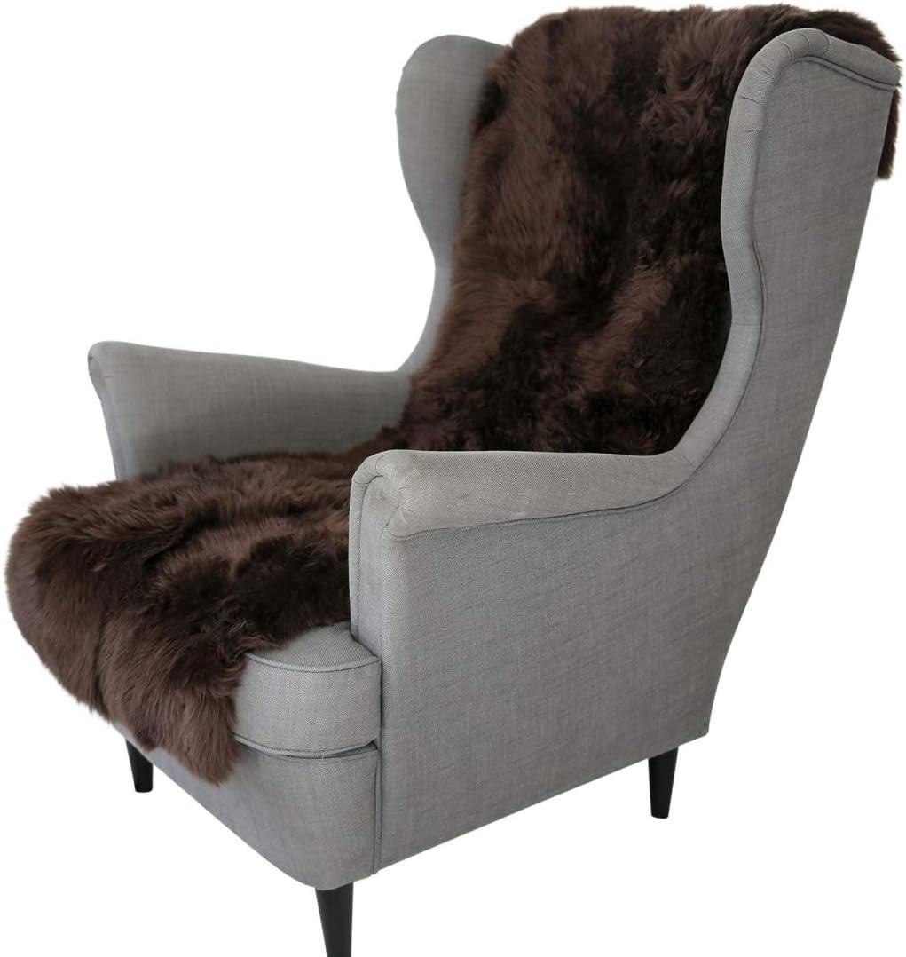 Hollert Lammfell SESSELAUFLAGE 160 x 50 cm Sitzauflage Unterbett Merino Fellauflage Farbe Braun