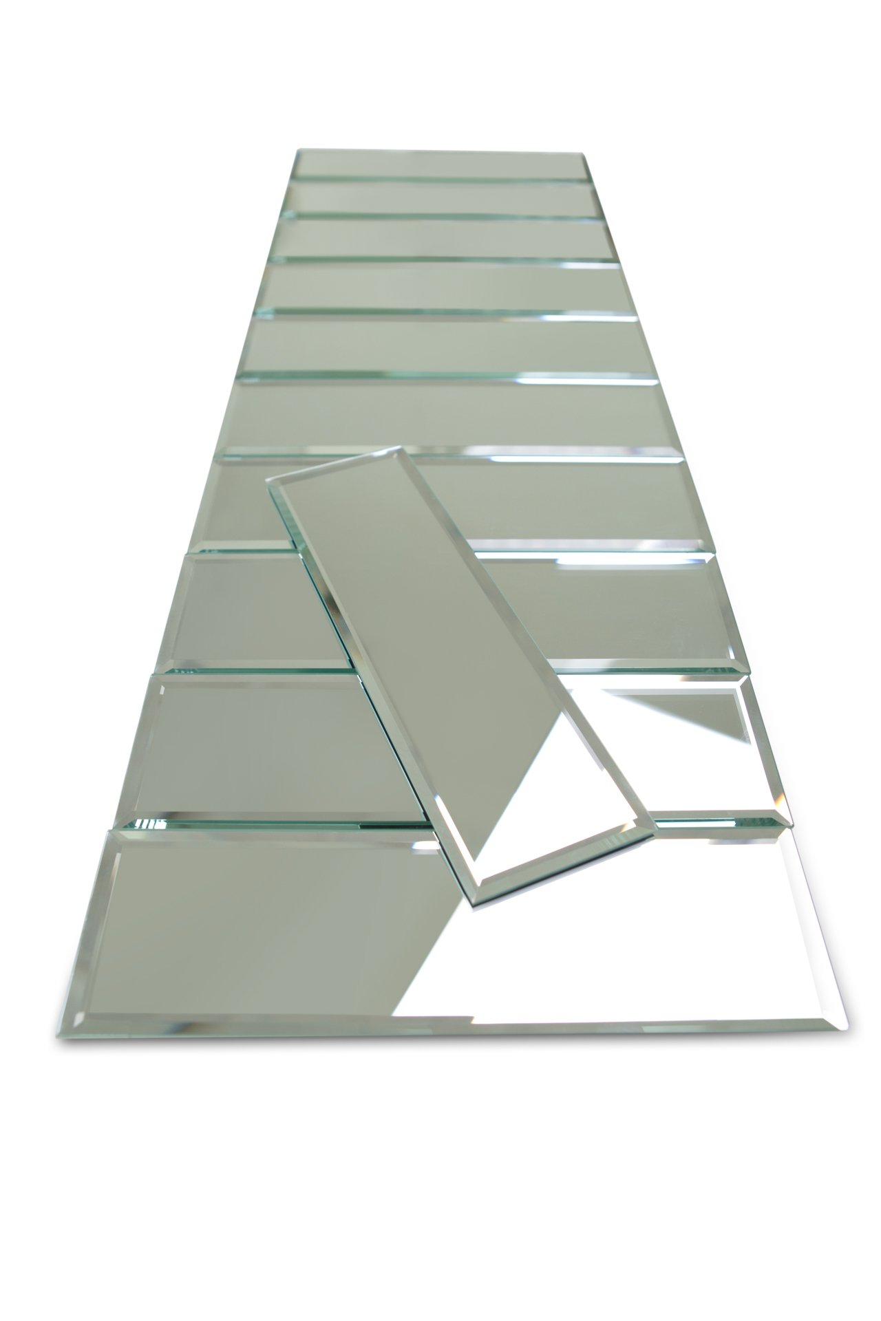3'' x 10'' Beveled Silver Mirror Glass Tile 55 Pieces Per Box (10sq/ft)