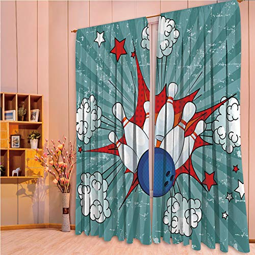 House Decor Collection Living Room Bedroom Curtain 2 Panels Set by,Bowling Party Decorations,Retro Comic Cartoon Style Ball Crash Pop Art Blast Stars Aiming,Multicolor,108.3