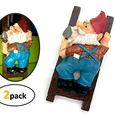 Flower Pot - Hugger Figurine - Gnome (2 Pcs) Garden Decor - Get All The Fun Collections of Pot Pal Climbers - Hanging Planter Decorations - Patio Decor - Yard Decor : Garden & Outdoor