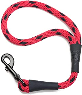 product image for Mendota Pet Traffic Leash - Short Dog Lead - Made in The USA - Black Ice Red, 1/2 in x 16 in