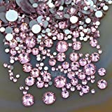 AD Beads 1440pcs Mixed Size Non Hotfix Quality Rhinestones Flatback Nail Art Pick Color (Lt. Rose 22)