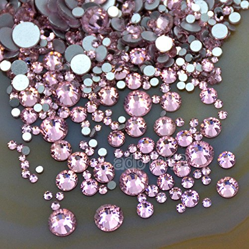 AD Beads 1440pcs Mixed Size Non Hotfix Quality Rhinestones Flatback Nail Art Pick Color (Lt. Rose 22) by AD Beads