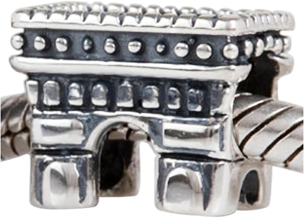 Abalorio de plata de ley 925 con diseño de castillo de sándalo para viajes, para pulseras europeas, regalo para el día de la madre