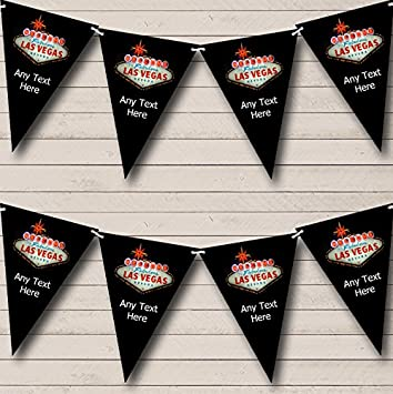 Las Vegas Black Personalised Birthday Party Bunting Banner Garland Amazoncouk Toys Games
