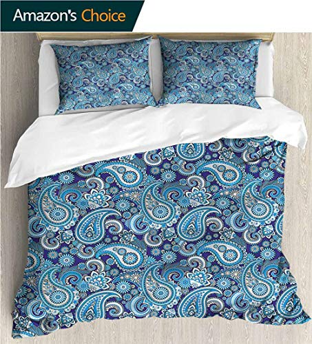 - carmaxs-home 3 Pcs King Size Comforter Set,Box Stitched,Soft,Breathable,Hypoallergenic,Fade Resistant with 2 Pillowcase for Kids Bedding-Paisley Flowers Leaves (87