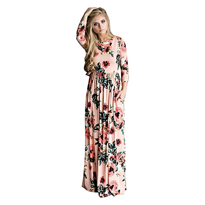 2017 Summer Boho Beach Dress Fashion Floral Printed Women Long Dress Three Quarter sleeve Loose Maxi