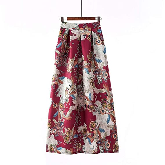 ec3085b5f Trindar Women Vintage Floral Print Pleated High Waist Maxi Skirt Casual A  Line Skirt(Beige