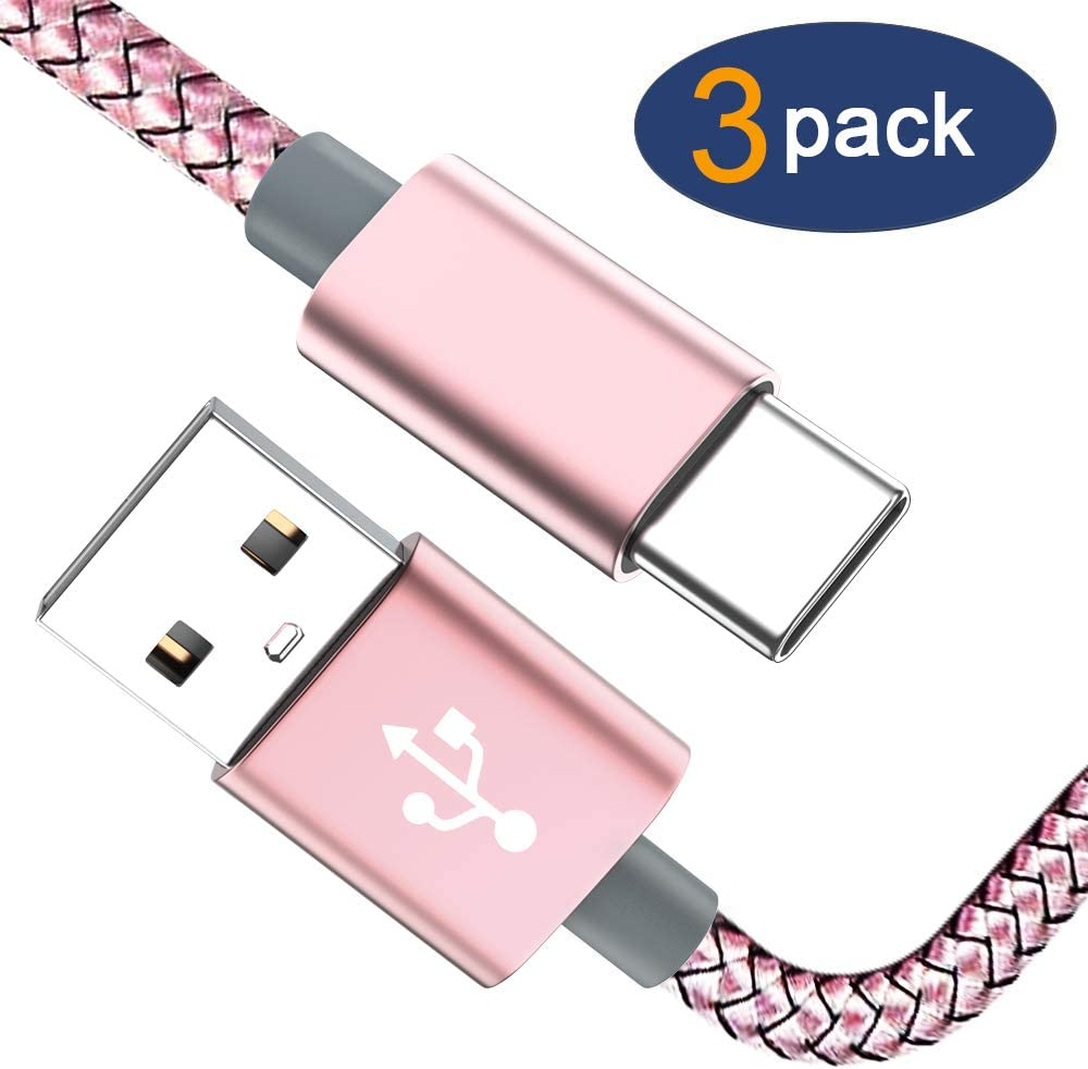 USB Type C Cable OULUOQI USB C Cable 3 Pack(6ft) Nylon Braided Fast Charger Cord(USB 2.0) Compatible with Samsung Galaxy S10 S9 Note 9 8 S8 Plus,LG V30 V20 G6 G5,Google Pixel,Switch (Pink)