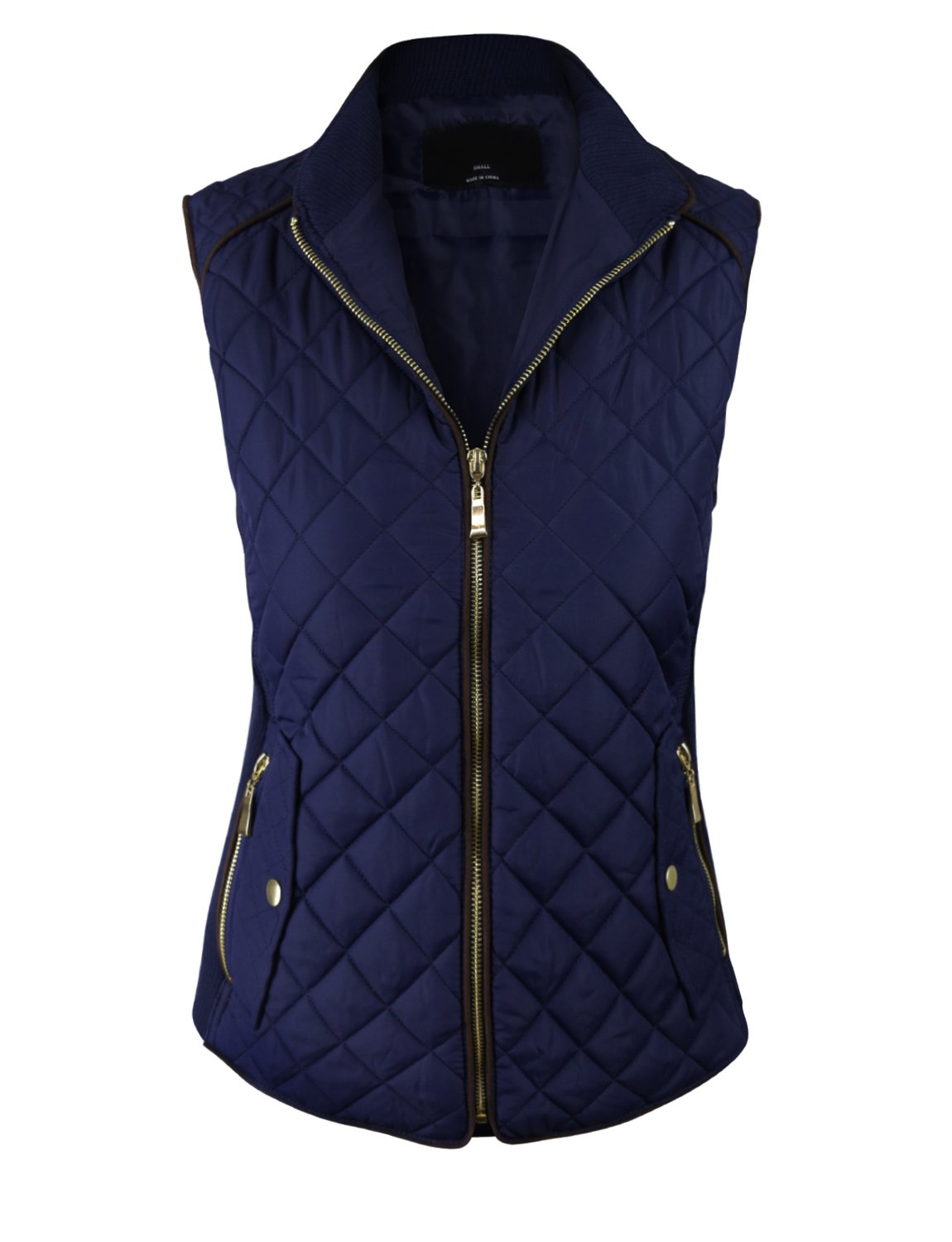 makeitmint Women's Basic Solid Quilted Padding Jacket Vest w/ Pockets Large YJV0002_Navy