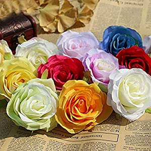 XGM GOU 10Pcs/Lot DIY Rose Artificial Flower Heads Bride Bouquet Silk Flower Wedding Arch Flower Arrangement Accessories 8.5Cm Dia 16