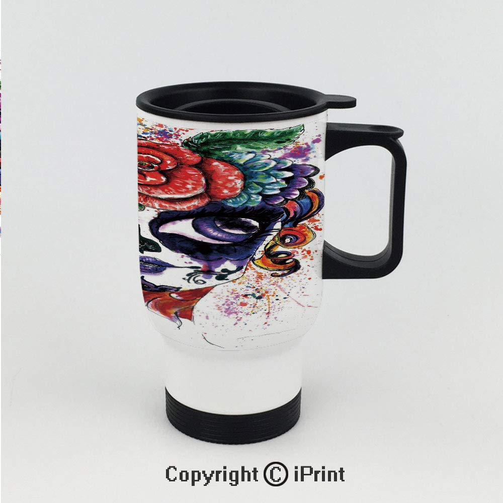 Stainless Steel Auto Car Mug,Watercolor Painting Style Girl with Make Up and Floral Crown Big Eyes Decorative,Great for Home and Travel