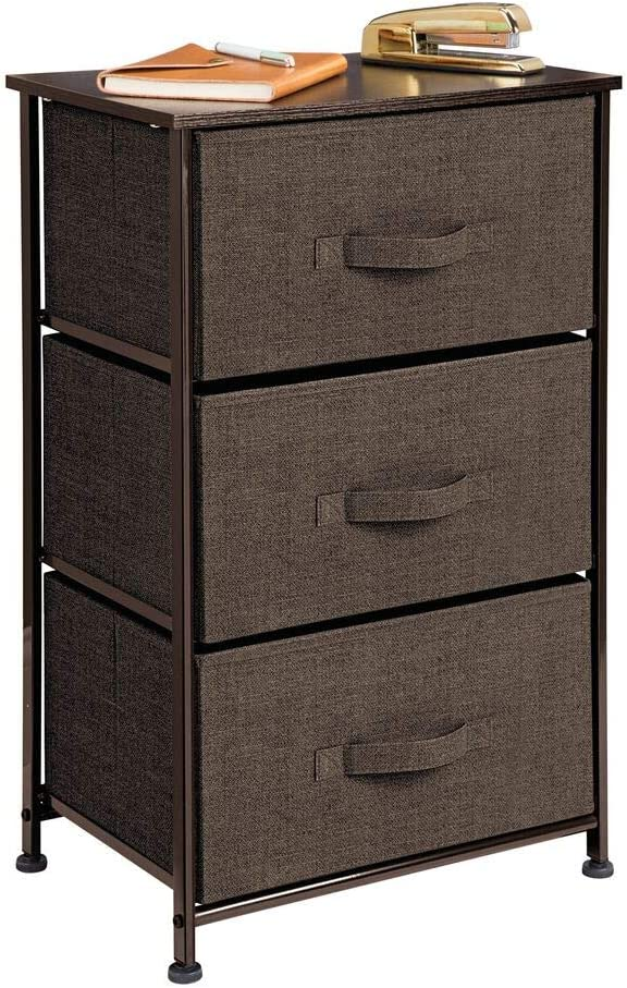Entryway Hallway Wood Top Closets Textured Print Sturdy Steel Frame Easy Pull Fabric Bins Cream//Gold 3 Drawers Organizer Unit for Bedroom mDesign Vertical Dresser Storage Tower