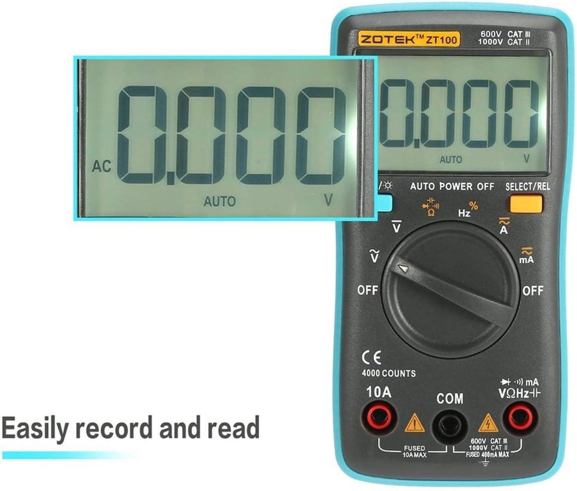 ZOTEK ZT100 Mini Auto Range Digital Multimeter 4000 counts AC//DC Ammeter Voltmeter 550V Overload Protection LCD Backlight