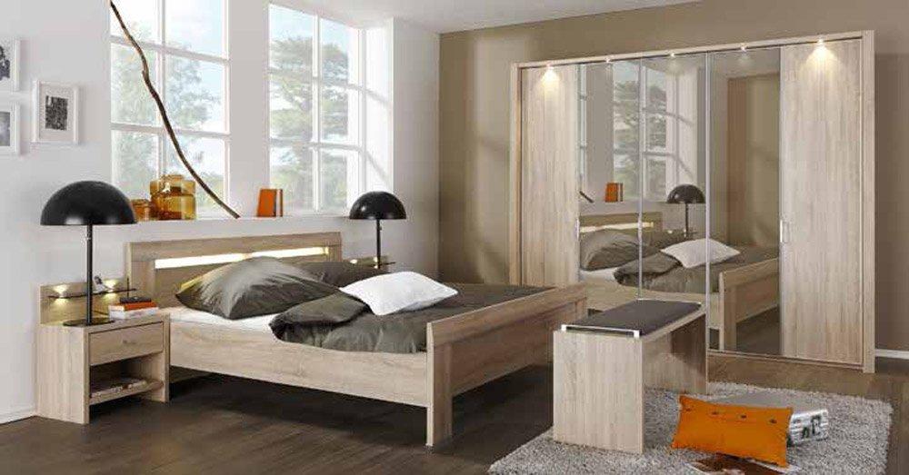 Schlafzimmer in Eiche sägerau-Nachbildung mit Kleiderschrank, Breite ca. 250 cm, Kompaktbett ca. 180 x 200 cm und 2 Nachtschränken Breite: ca. 52 cm