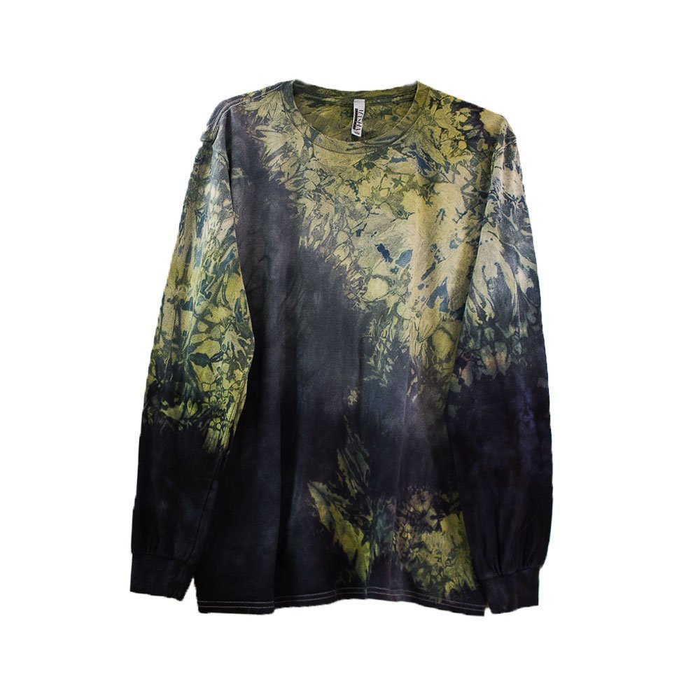 Green Grey Tie Dye Long Sleeve Shirt Unisex Burning Man Festival Plus Size Top S, M, L, XL, XXL