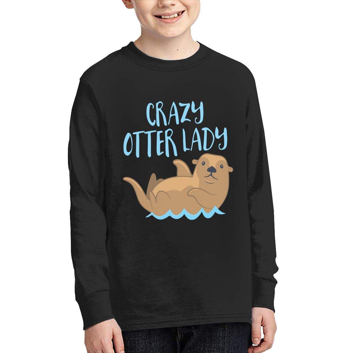 Teenagers Teen Girls Crazy Otter Lady Printed Long Sleeve 100/% Cotton T-Shirts