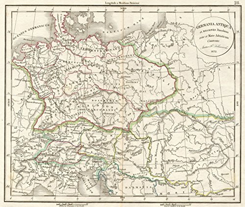 - Historic Map | Delamarche Map of Germany in Roman Times -, 1832 | Historical Antique Vintage Decor Poster Wall Art | 24in x 20in