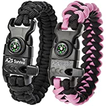 A2S Protection Paracord Bracelet K2-Peak - Best Father's Day Gift -Survival Gear Kit with Embedded Compass, Fire Starter, Emergency Knife & Whistle