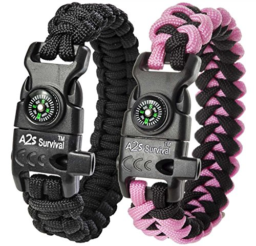 A2S Protection Paracord Bracelet K2-Peak – Survival Gear Kit with Embedded Compass, Fire Starter, Emergency Knife & Whistle (Black/Pink (Desert Survival Gear)
