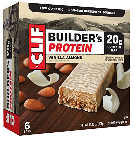 CLIF BUILDER'S - Protein Bar - Vanilla Almond - (2.4 Ounce Non-GMO Bar, 6 Count)