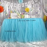 1 Yard Sky Blue Handmade Tulle Table Skirt for Baby Shower Decoration Princess Party Candy Table