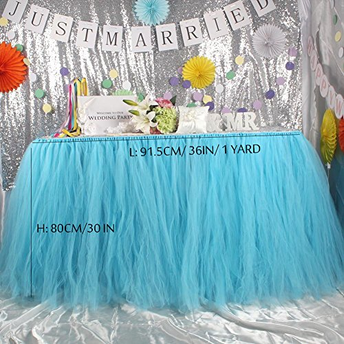 1 Yard Sky Blue Handmade Tulle Table Skirt for Baby Shower Decoration Princess Party Candy Table by NOVAVOJO