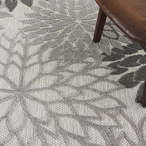 "Nourison Aloha Indoor/Outdoor Floral Silver Grey 5'3"" x Round Area Rug, (5' Round)"