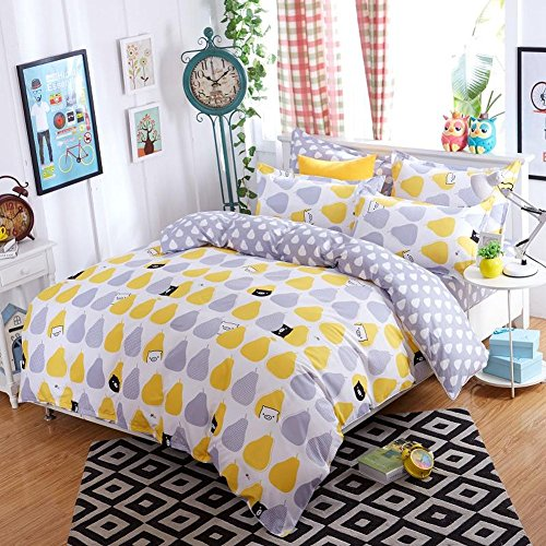 Lovolife Pears Duvet Cover Set Cotton Bedding Set (queen)
