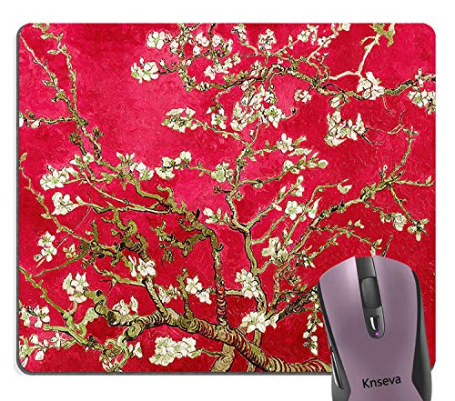 (Knseva Famous Painting of Almond Trees Flowers Blossoms Mouse Pad - Red)