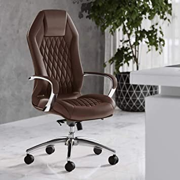 Modern Ergonomic Sterling Genuine Leather Executive Chair with Aluminum Base