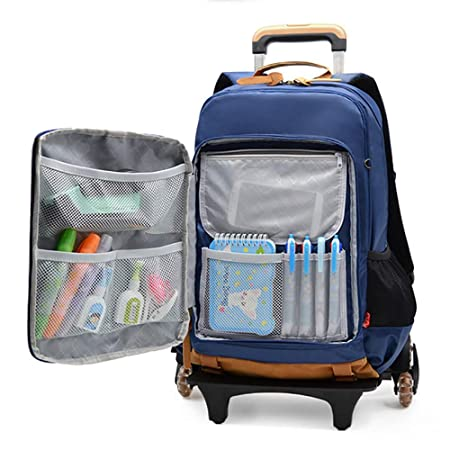 Amazon.com : HCC& Boys Girls Waterproof Trolley Backpack& Trolley Carry On Luggage with Removable Pull Rod Climbing Stairs Wheeled Backpack 7-12Years Old ...