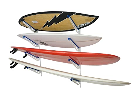 StoreYourBoard Metal Surfboard Storage Rack - 4 Surf Adjustable Home Wall Mount