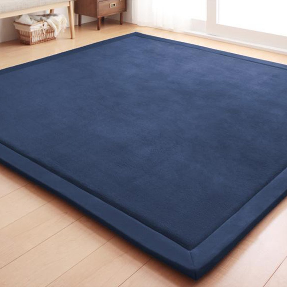 Adyonline Environmental Anti-Slip Home Decoration Bedroom Baby Crawling Mats,Living Room Yoga Mats,Carpeted Floor Mats,Waterproof,Easy-to-Clean,Hypoallergenic,Non-Toxic Matsx79inch,Navy Blue